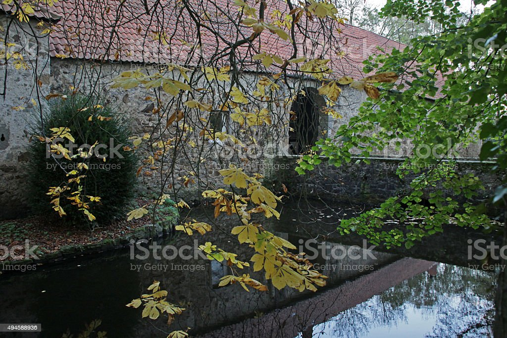 Moated castle in Blomberg-Reelkirchen stock photo