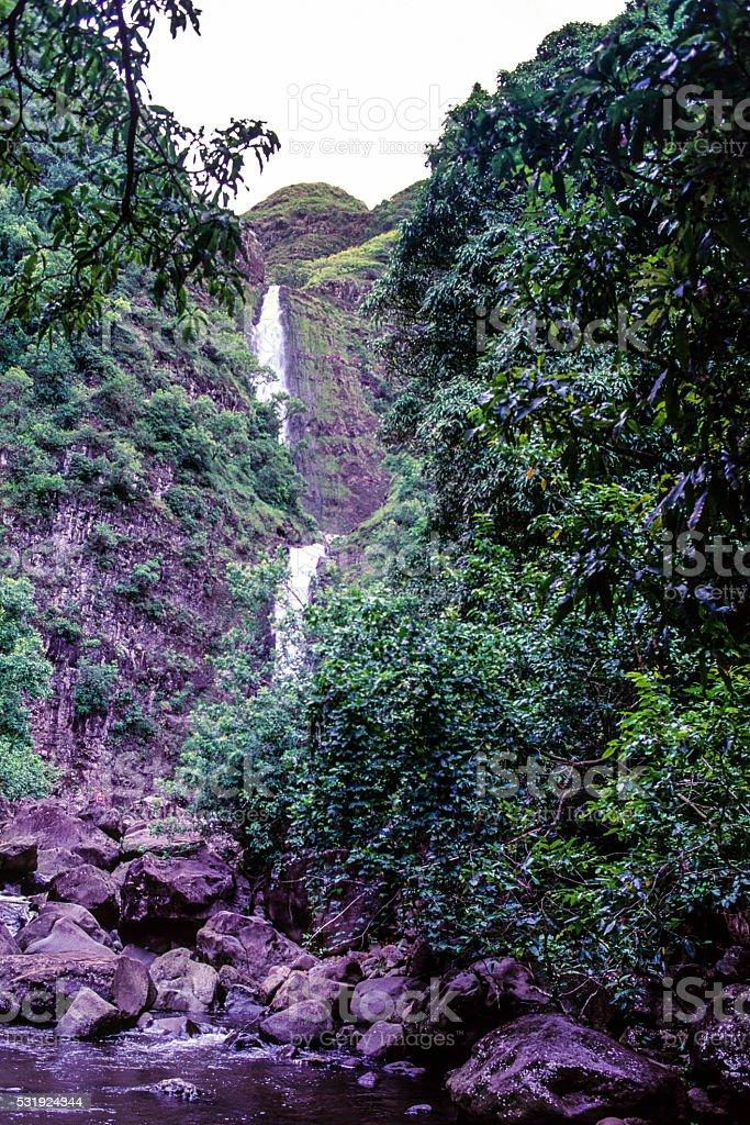 Mo'aula Falls stock photo