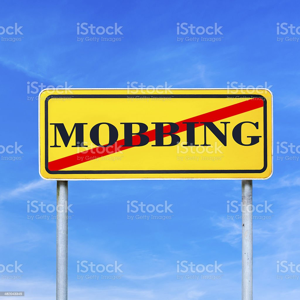 Mobbing forbidden traffic warning sign stock photo