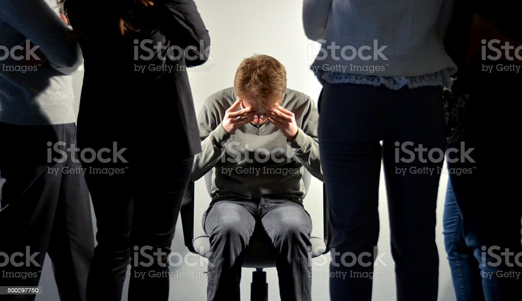 Mobbing on workplace stock photo