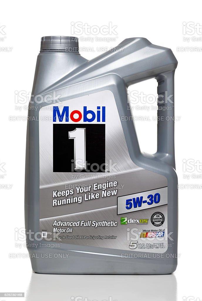 Mobil 1 5W-30 full synthetic motor oil stock photo