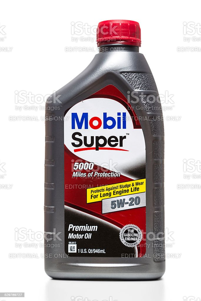 Mobil Super premium 5W-20 motor oil stock photo