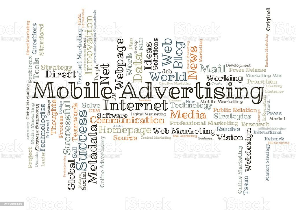 Mobile Advertising word cloud stock photo