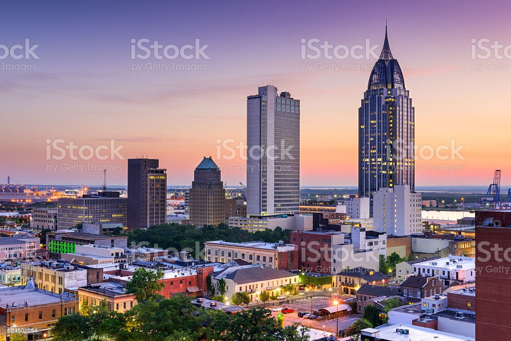 Mobile Alabama Skyline stock photo
