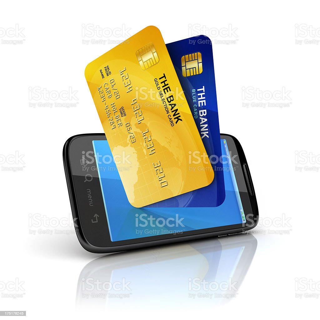mobile and Bank Cards purchase royalty-free stock photo