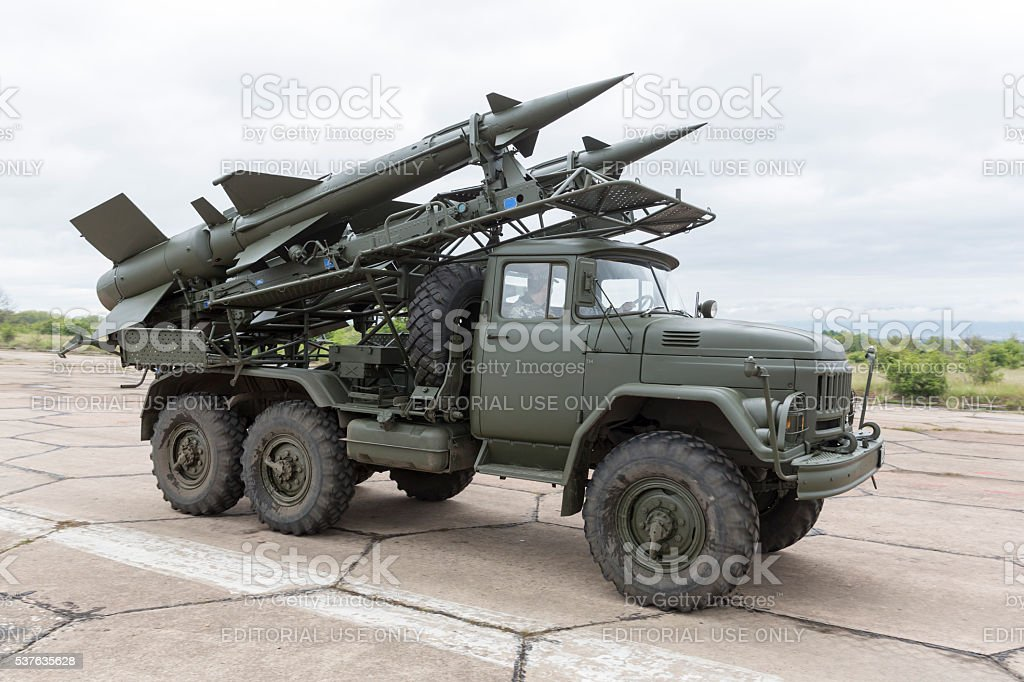 Mobile antiaircraft missile complex stock photo