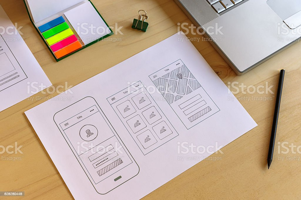 Mobile app prototype stock photo