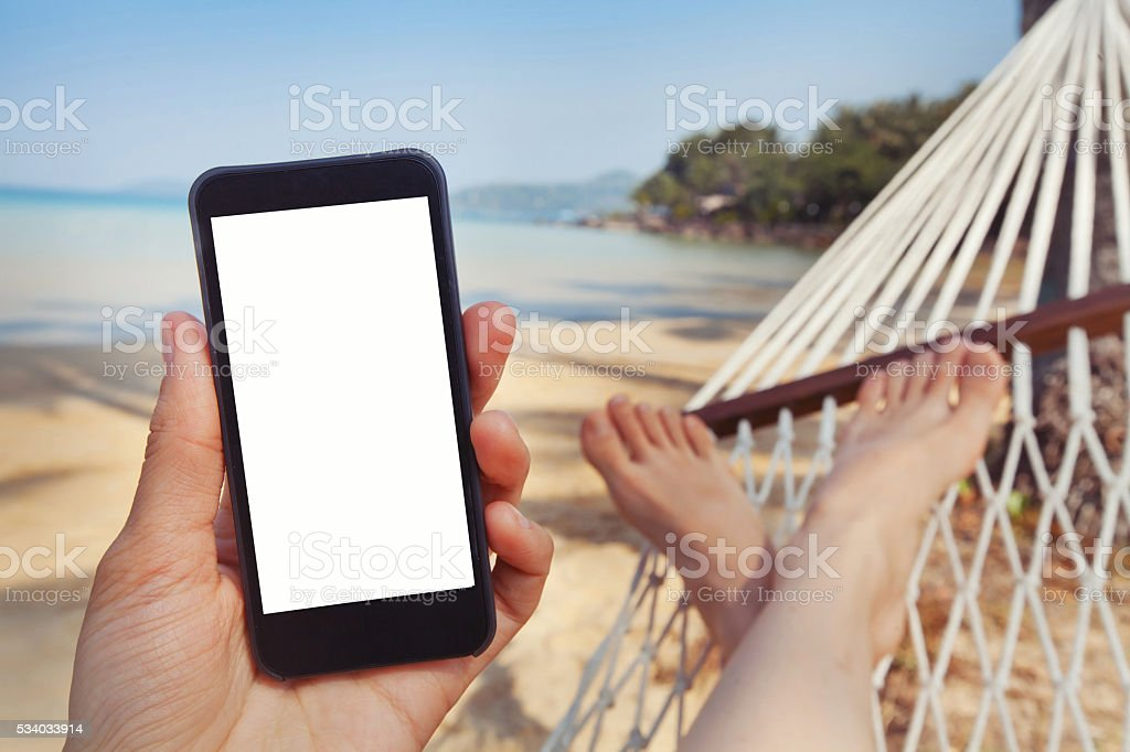 mobile application for travels stock photo