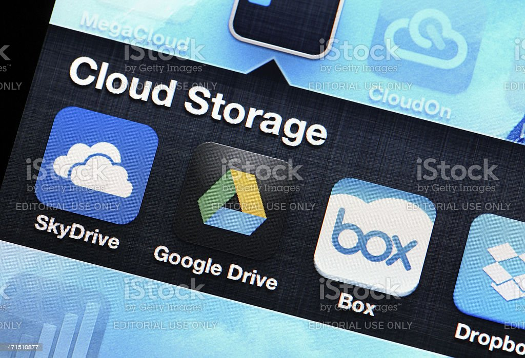 Mobile application of cloud storage stock photo