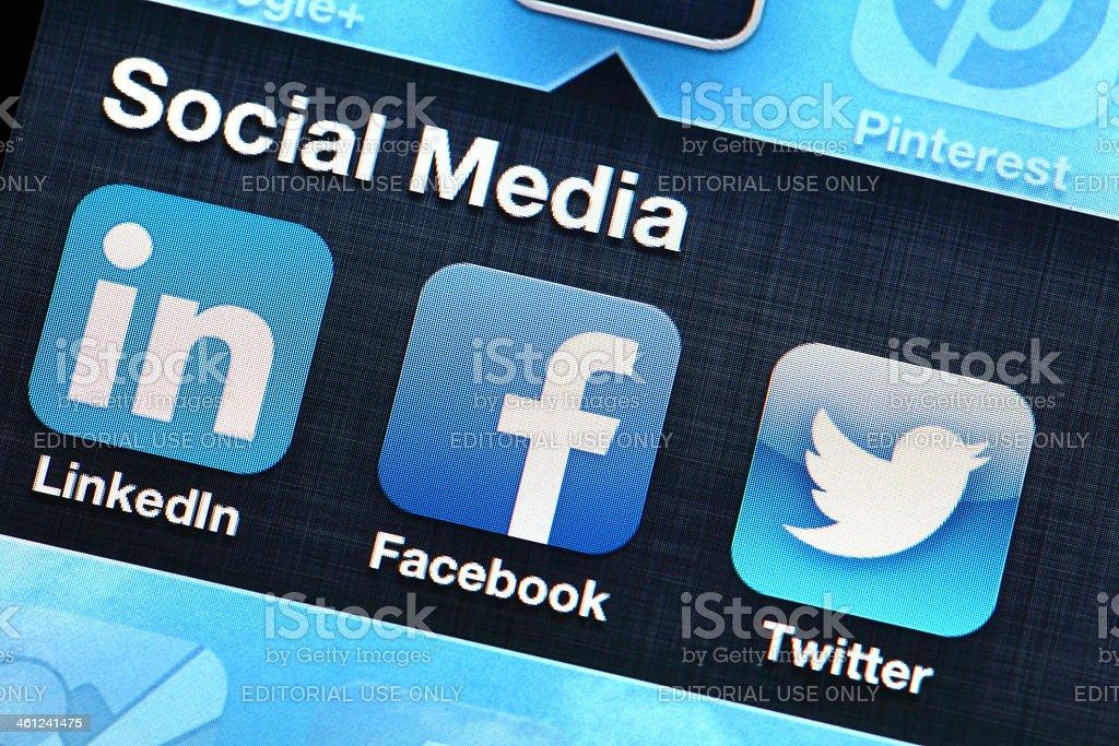 Mobile application of social media stock photo