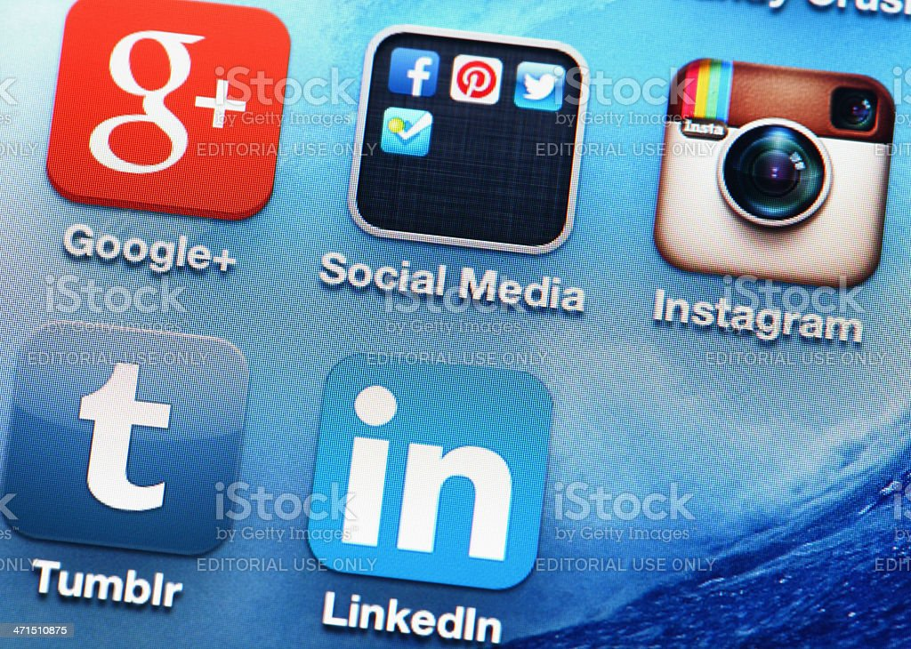 Mobile application of social media royalty-free stock photo