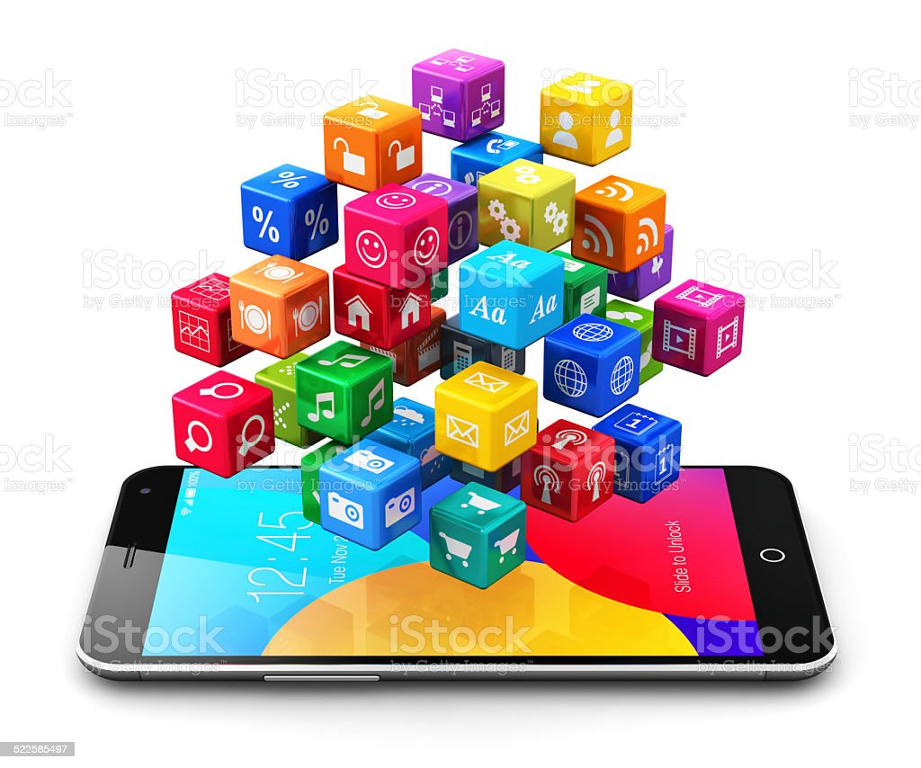 Mobile applications and internet concept stock photo