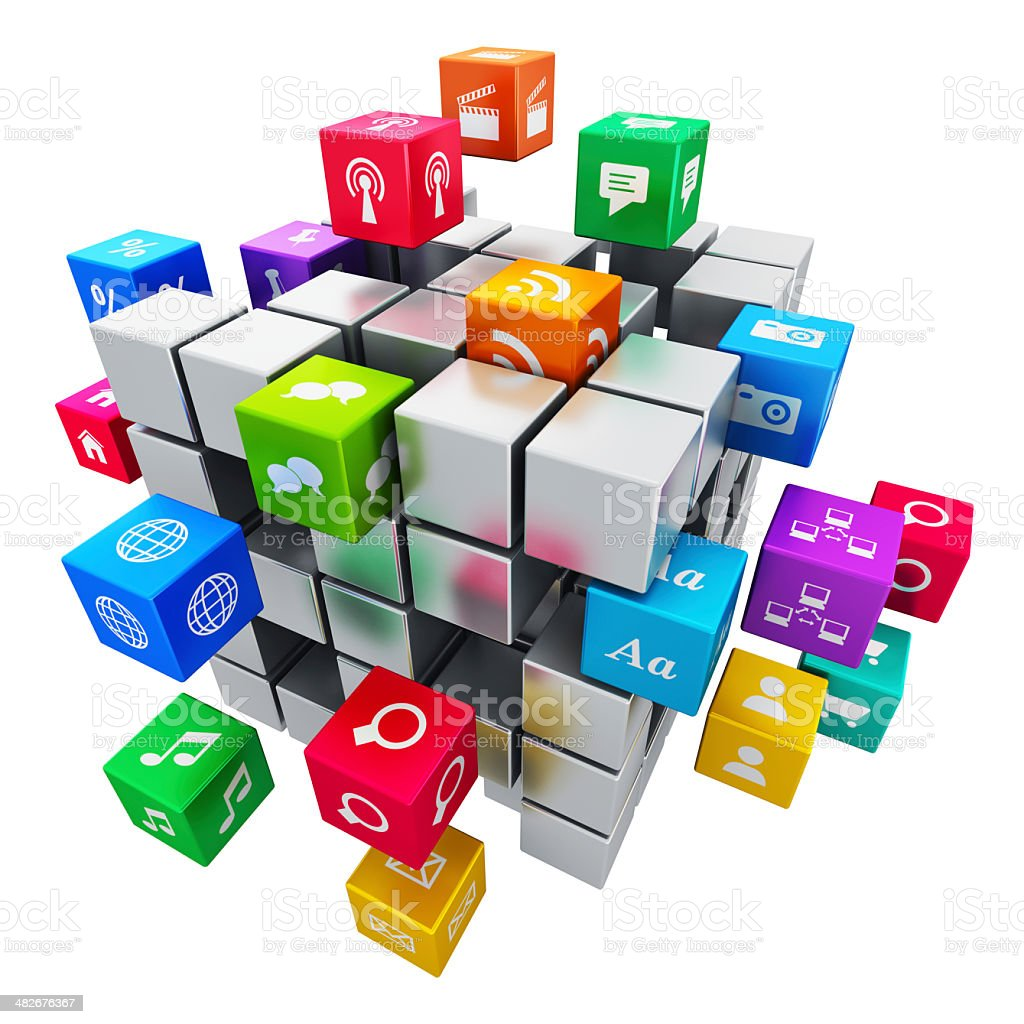 Mobile applications and media technology concept stock photo