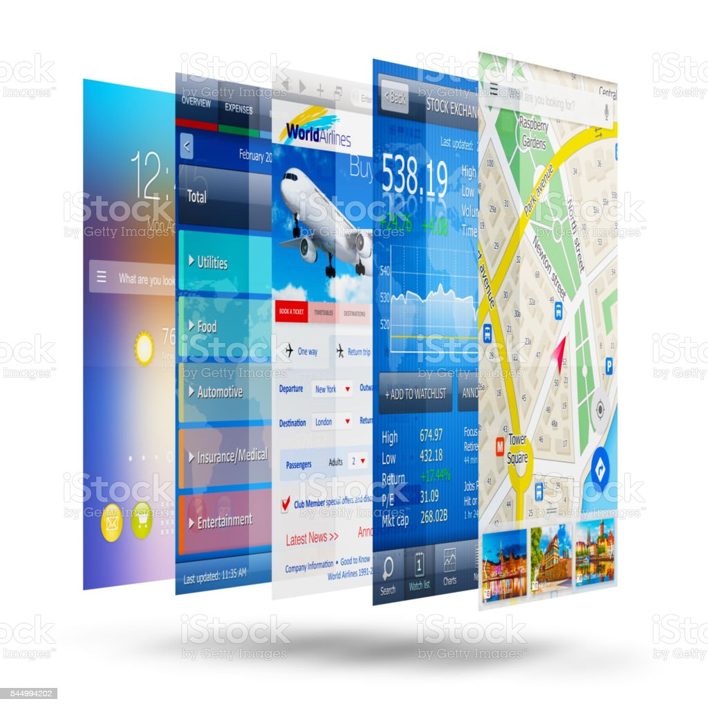 Mobile applications concept stock photo