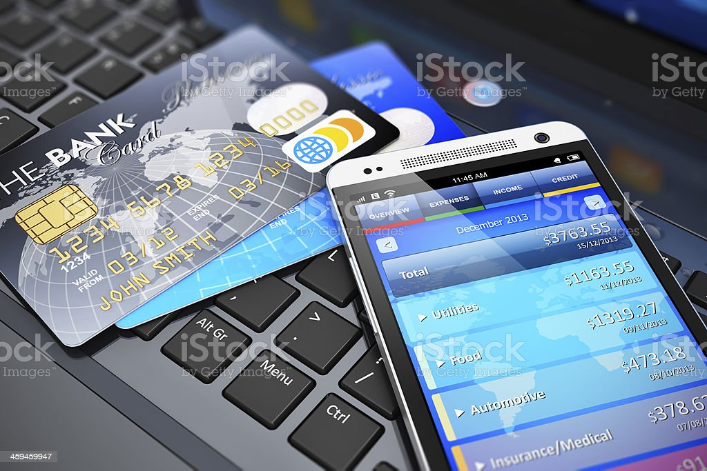 Mobile banking and finance concept stock photo