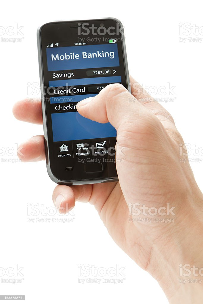Mobile Banking on Smartphone - Generic royalty-free stock photo