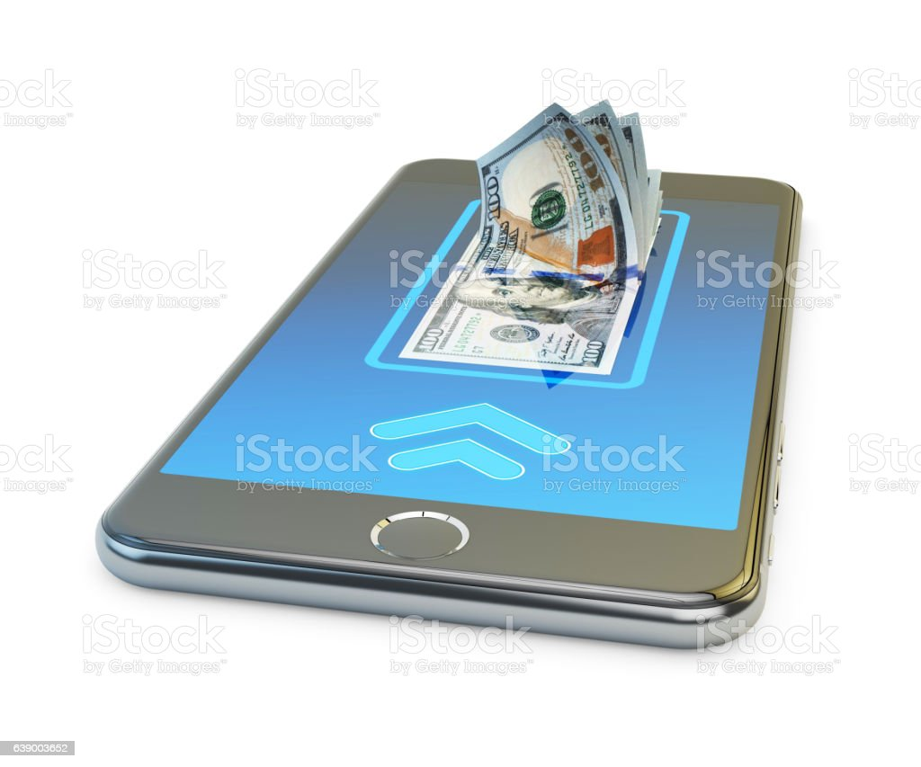 Mobile banking online payment, wireless money transfer and e-wallet concept stock photo