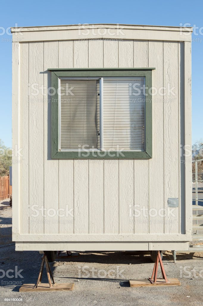 mobile building in industrial site stock photo