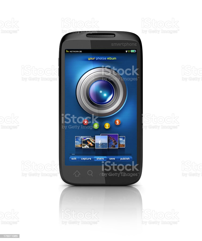 mobile Camera and photo album share stock photo