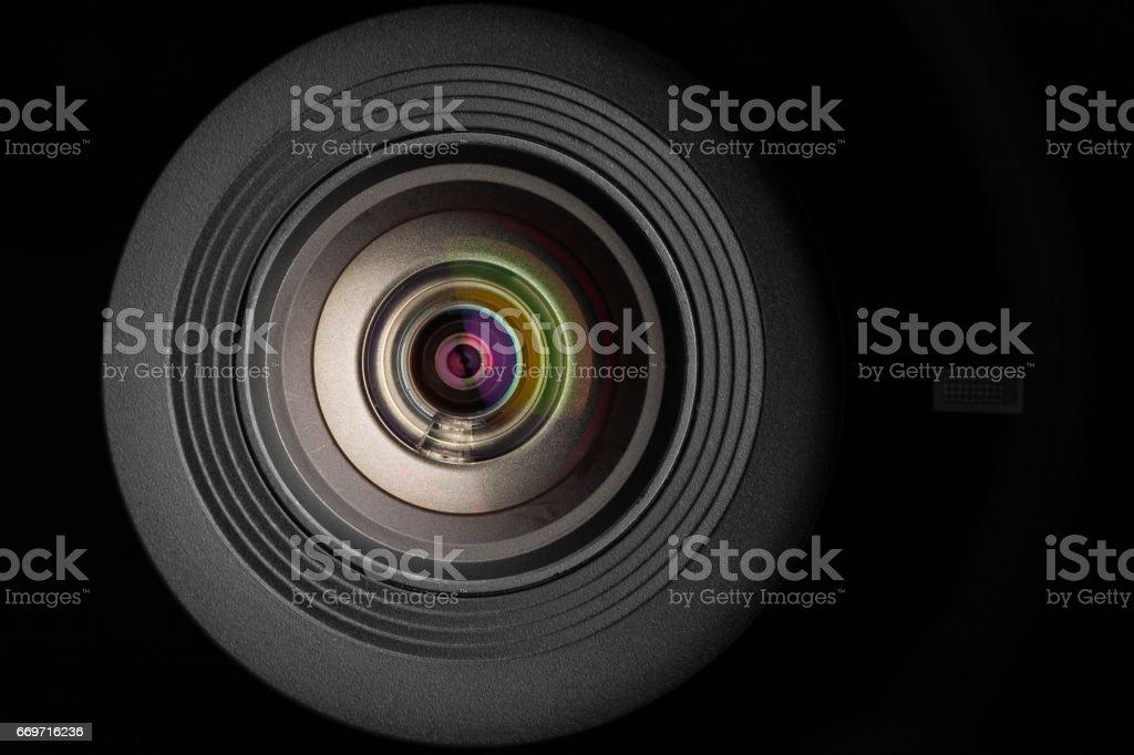 mobile camera lens on black background, macro view stock photo