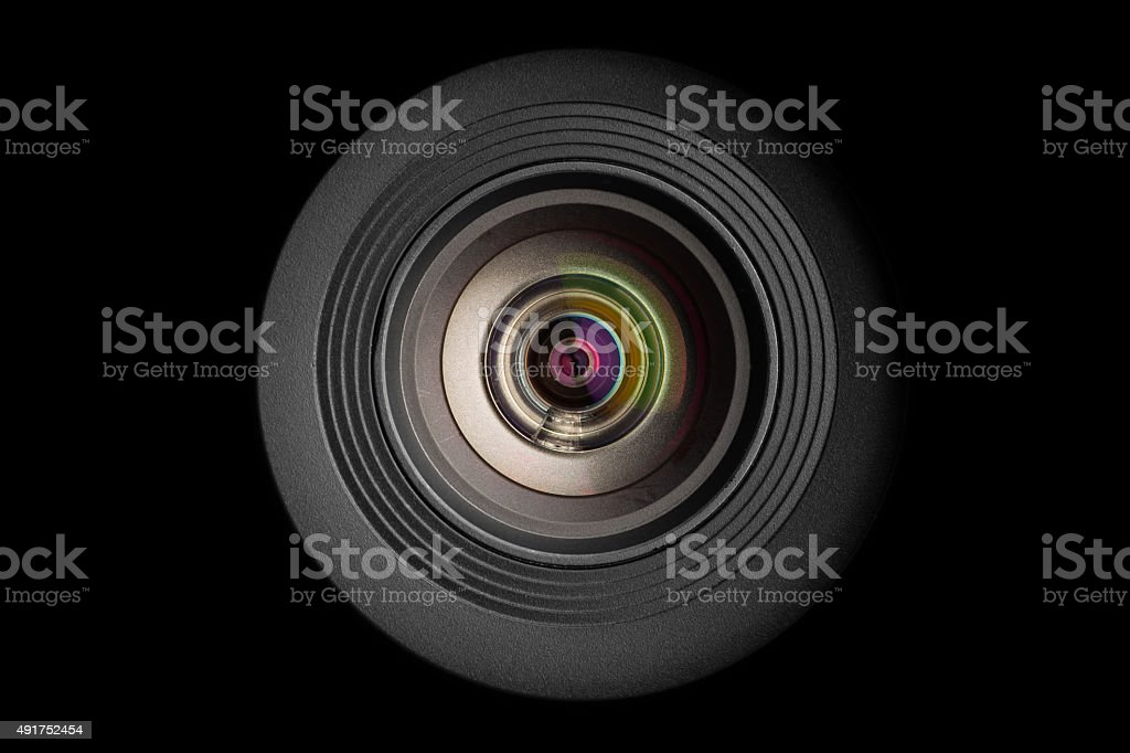 mobile camera lens on black background stock photo