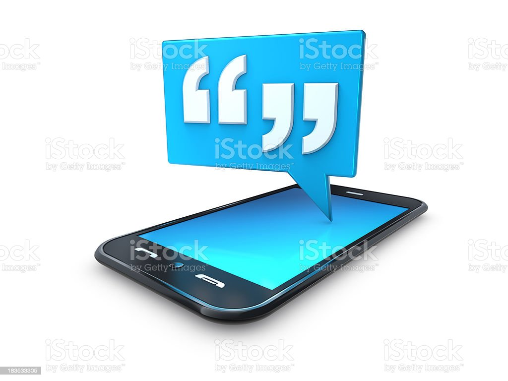 mobile cell phone with blue quote speech bubble stock photo