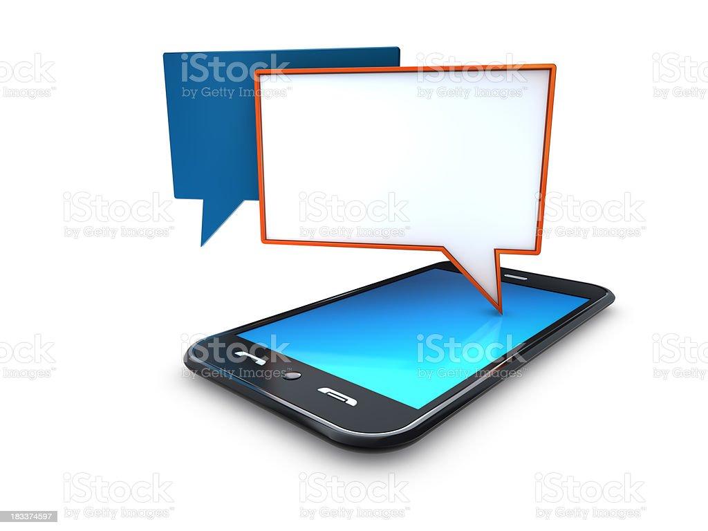 mobile telefone celular com discurso bolhas de bate-papo foto royalty-free