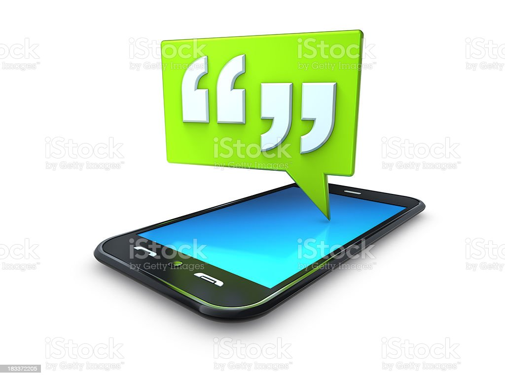 mobile cell phone with green quote speech bubble stock photo