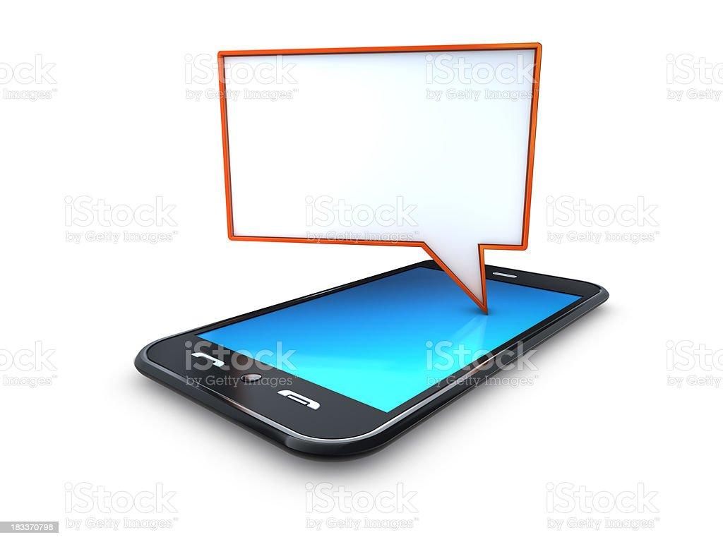 mobile telefone celular com Vermelha discurso de pensamento foto royalty-free