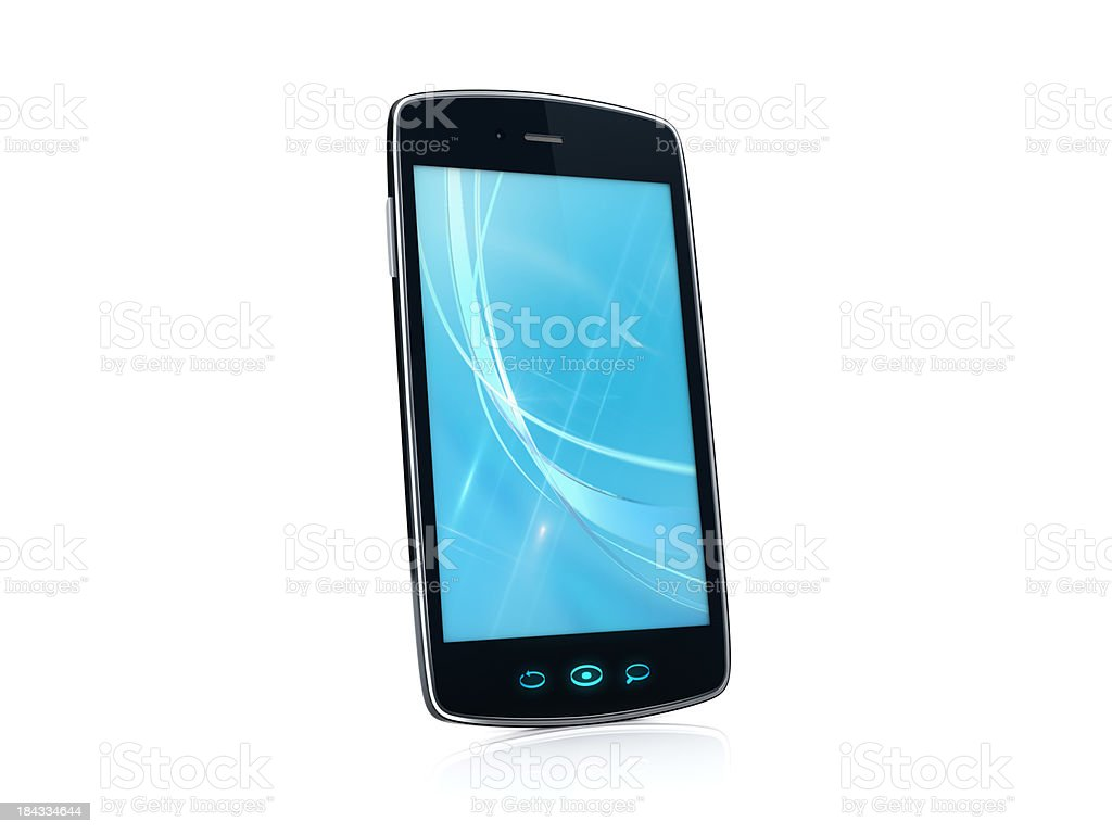 Mobile Cell Smartphone with blue background image - Left side royalty-free stock photo