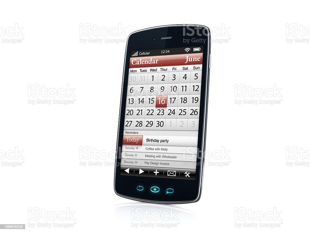 Mobile celular Smartphone com calendário VISTA LATERAL-DIREITO foto royalty-free