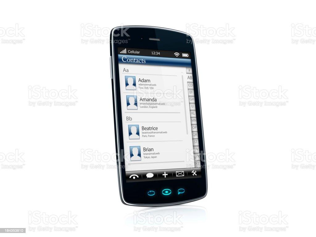 Mobile celular Smartphone com contatos aplicativo VISTA LATERAL-ESQUERDO foto royalty-free
