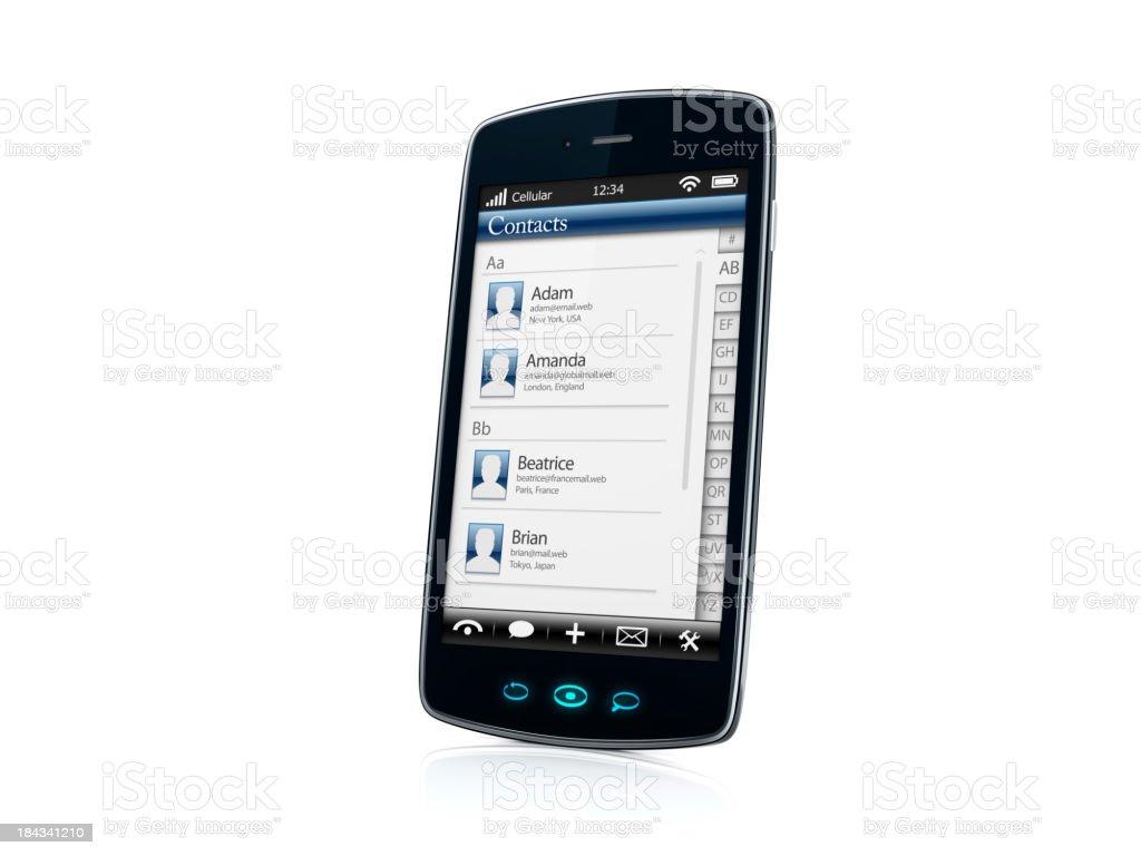 Mobile celular Smartphone com contatos aplicativo VISTA LATERAL-DIREITO foto royalty-free
