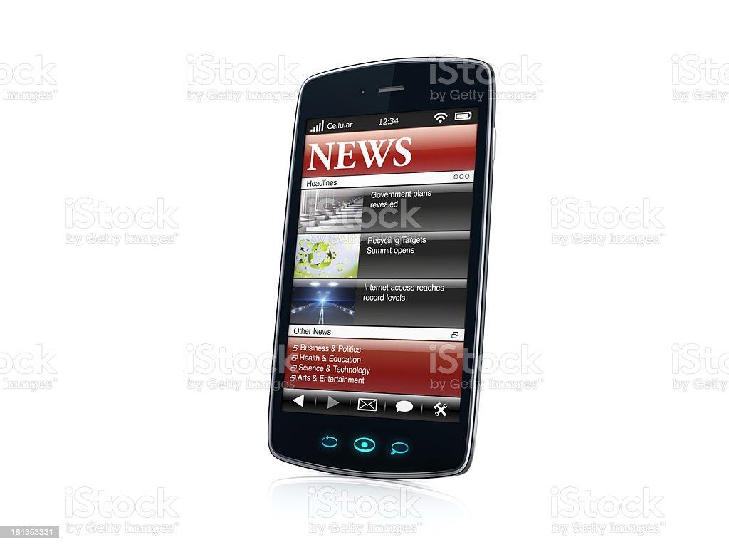 Mobile celular Smartphone com notícias aplicativo VISTA LATERAL-DIREITO foto royalty-free