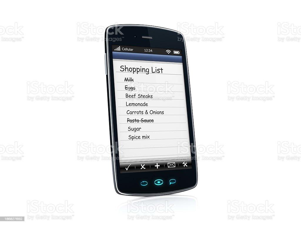 Mobile celular Smartphone com lista de compras aplicativo-esquerda foto royalty-free