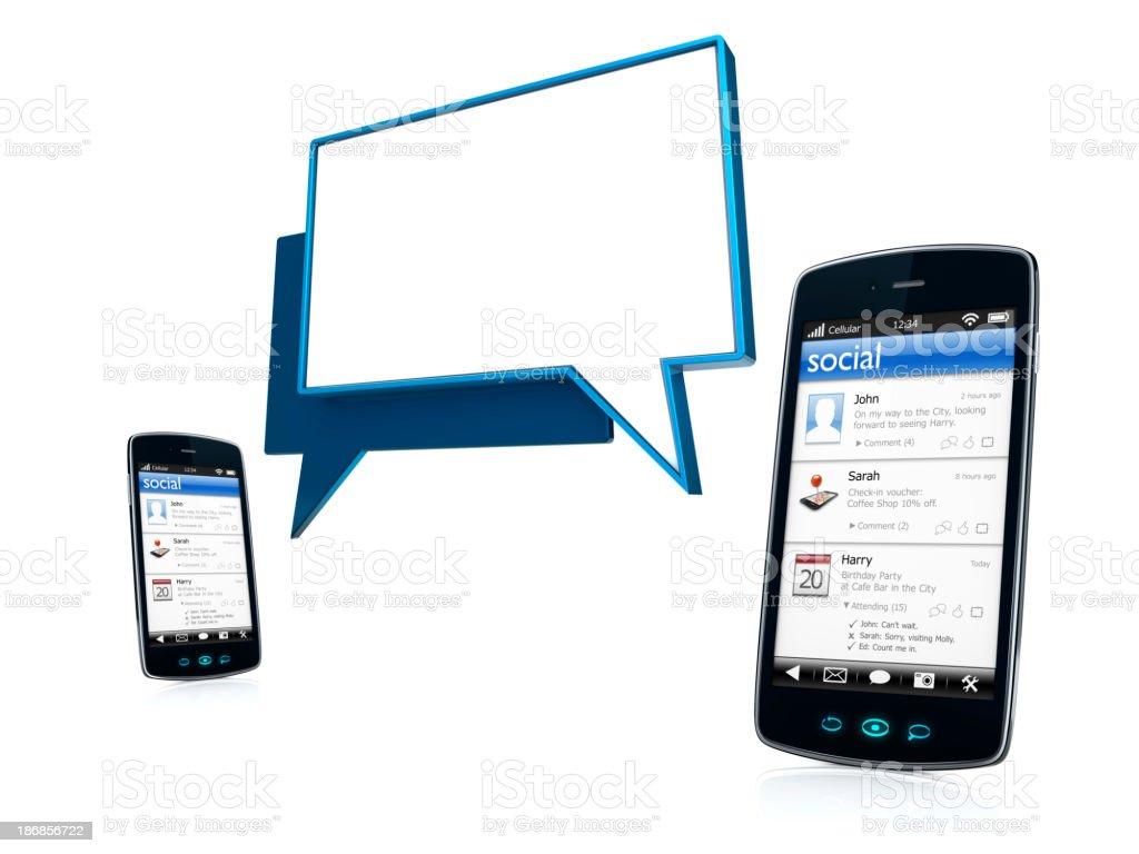 Smartphones celular móvel com bolhas Social aplicativo e bate-papo foto royalty-free