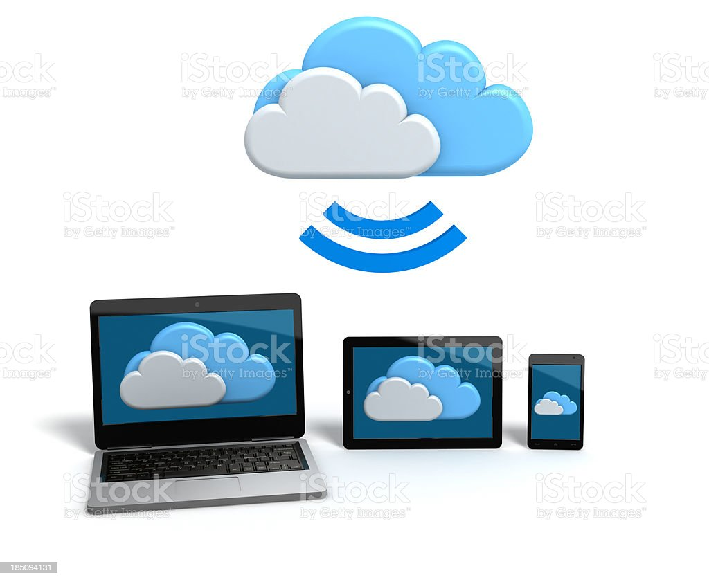 Mobile Cloud applications and services stock photo