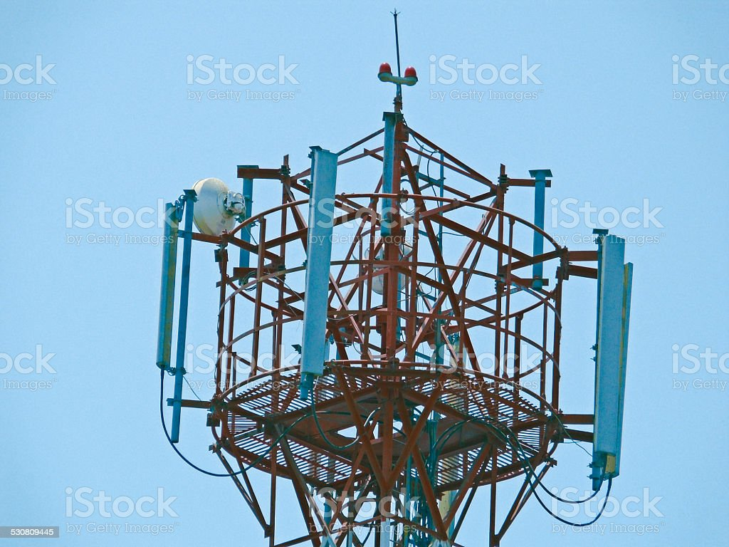 Mobile company's Signal receiving tower stock photo
