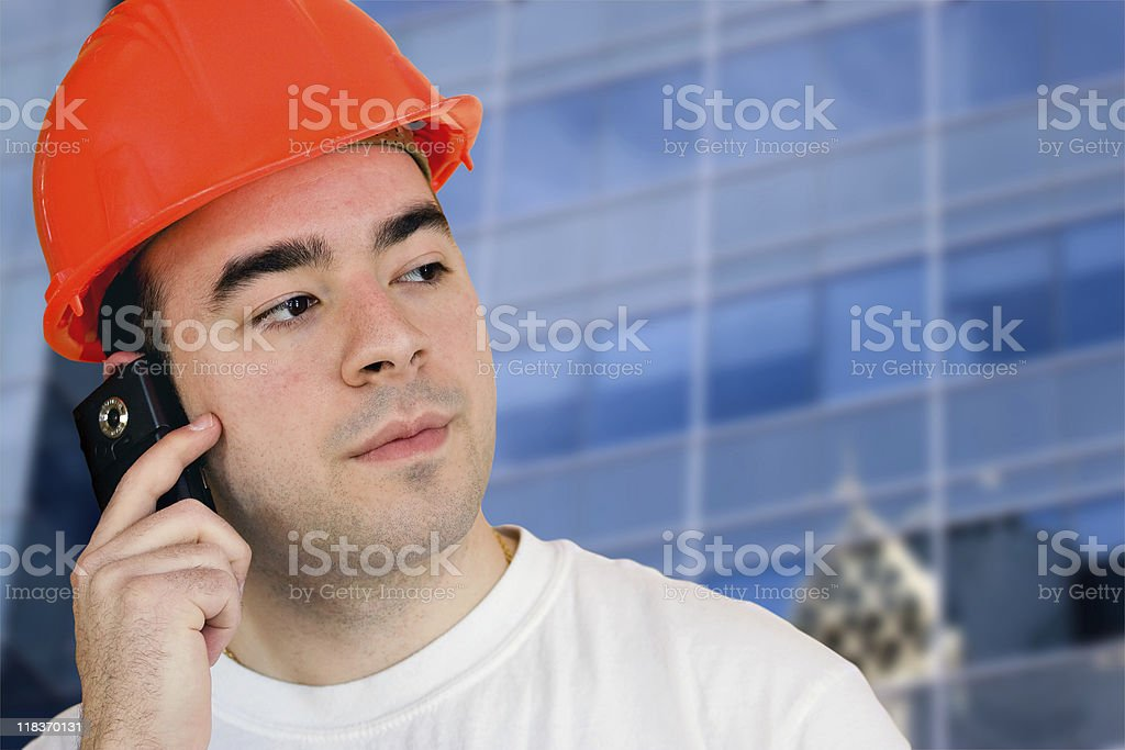 Mobile Construction Worker royalty-free stock photo