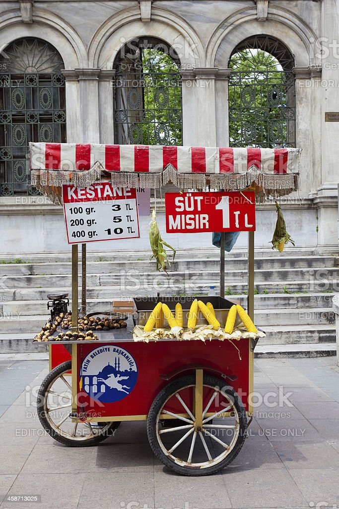 Mobile corn vendor, Istanbul royalty-free stock photo