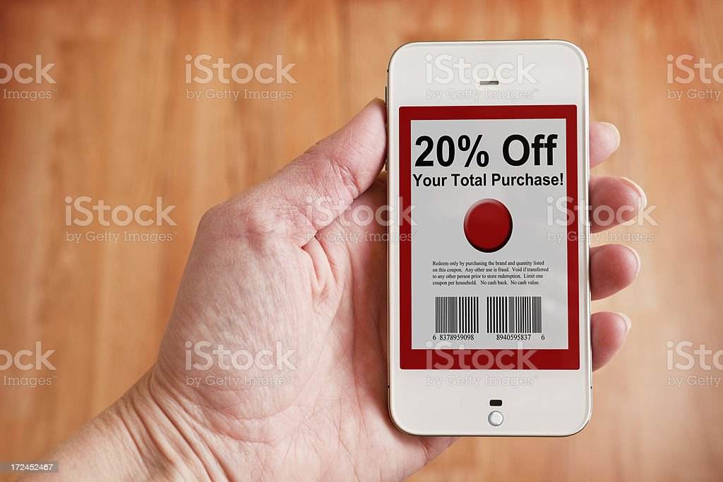 Mobile Coupon stock photo