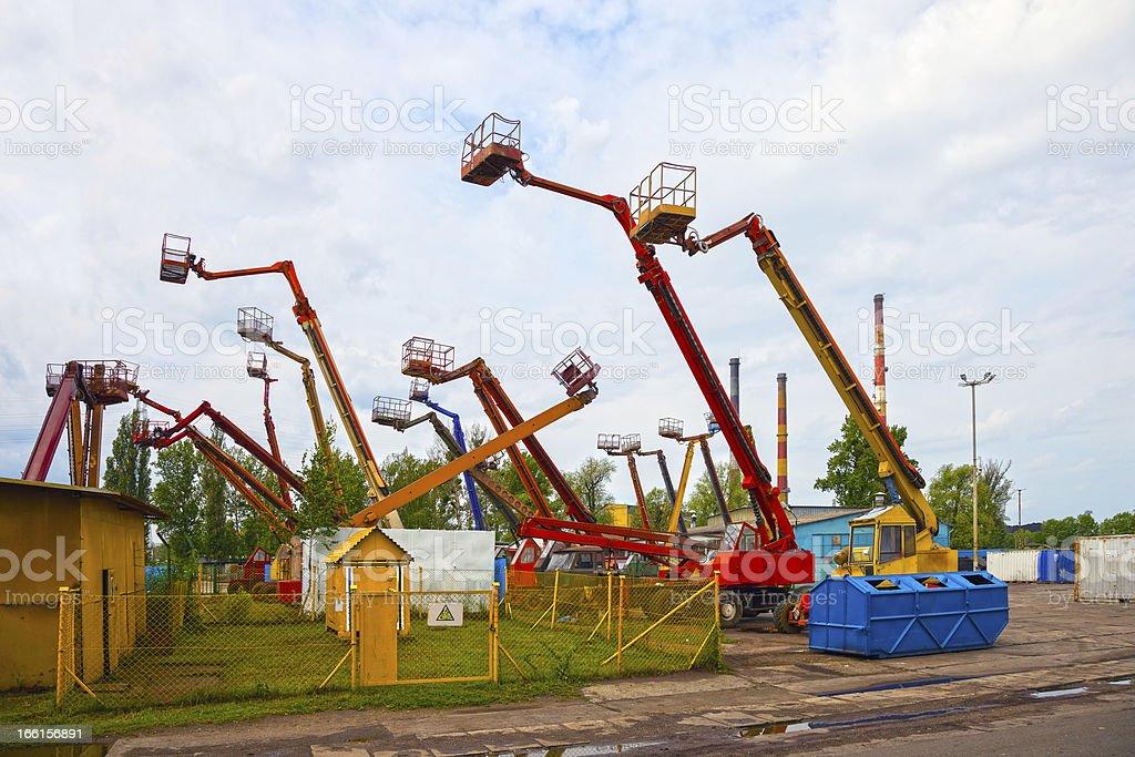 Mobile crane basket stock photo