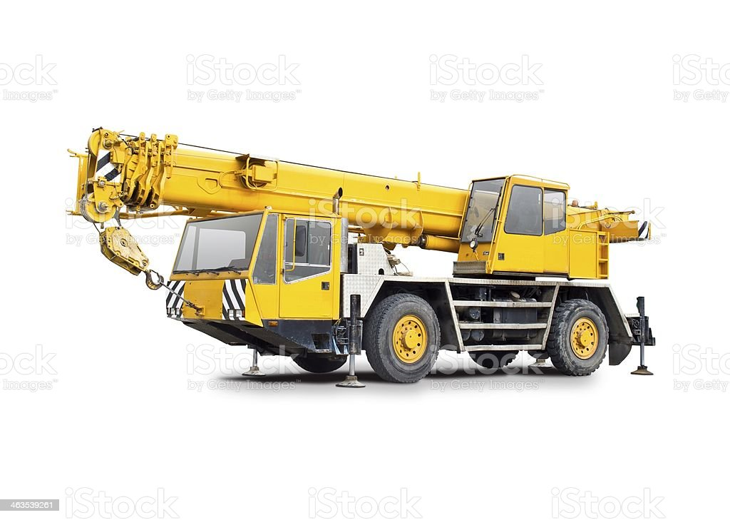 Mobile crane truck stock photo
