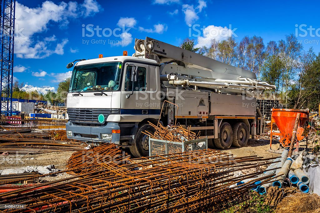 Mobile crane truck used for the delivery of cement stock photo
