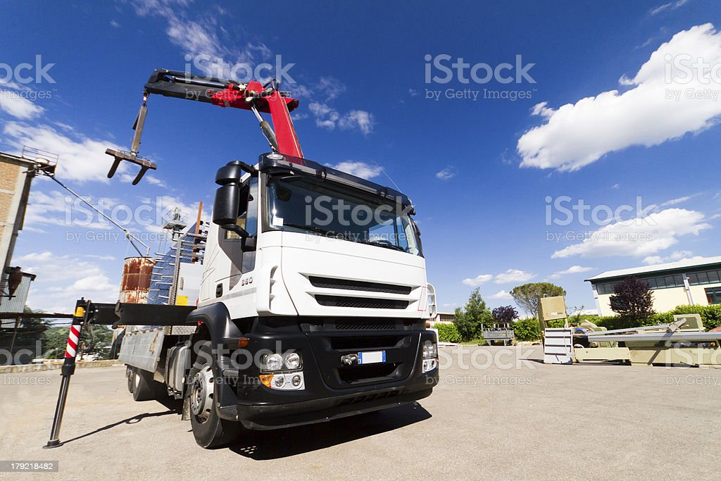 Mobile crane, white truck stock photo