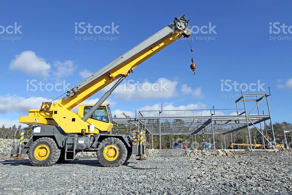 Mobile Crane,Side View, On A New Building Construction Site stock photo