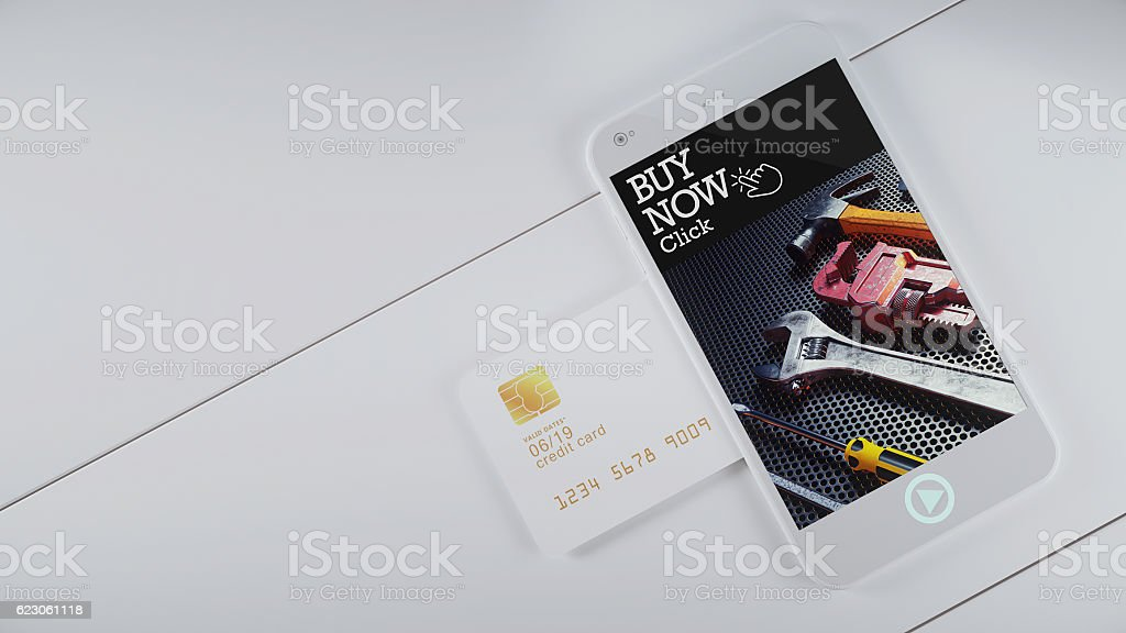 Mobile credit card slot. stock photo