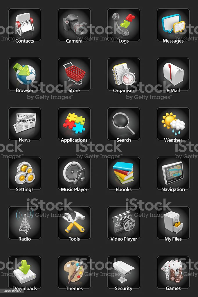 mobile device icon set stock photo