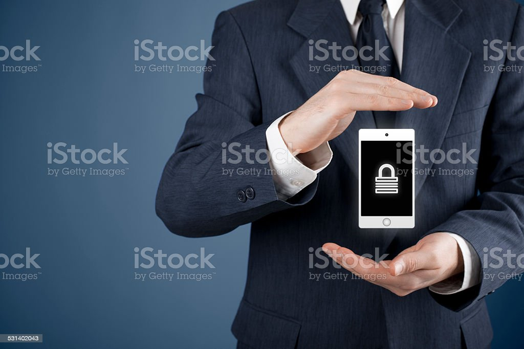 Mobile device security stock photo