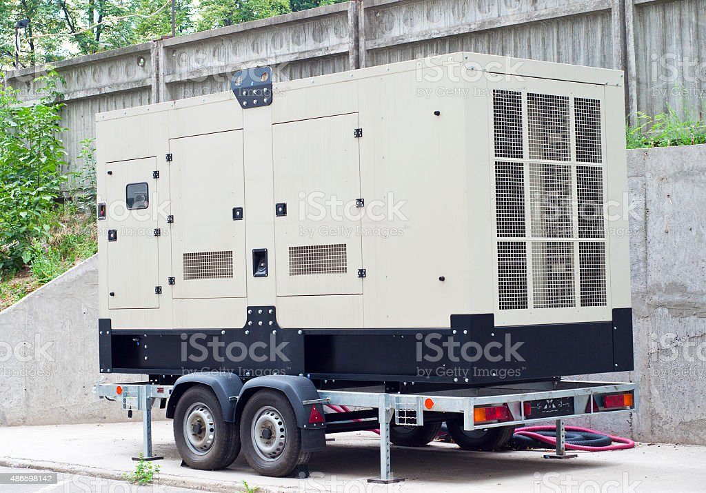 Mobile Diesel Backup Generator for Office Building stock photo